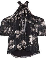 Erdem Elin Cold-shoulder Printed Silk-chiffon Blouse - Black