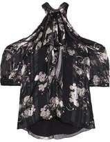 Erdem Elin Cold-shoulder Printed Silk-jacquard Blouse - Black