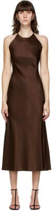 Rosetta Getty Brown Satin Slip Dress