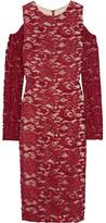 Alice + Olivia Laila Cutout Lace Dress - Claret