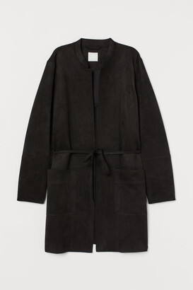 H&M Faux Suede Coat - Black