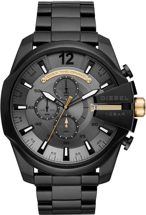 Diesel Men's Chronograph Mega Chief Black Stainless Steel Bracelet Watch 51mm