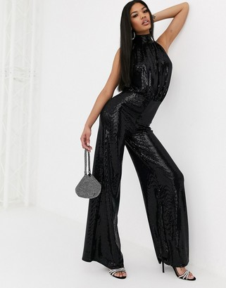 Flounce London glitter highneck jumpsuit in black