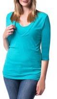 Women's Bun Maternity 'Softie' Three-Quarter Sleeve Maternity/nursing Tee