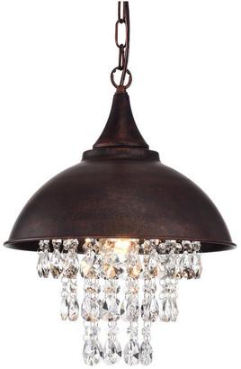 Edvivi Lighting 1-Light Antique Copper Dome Modern Farmhouse Pendant w/ Hanging Crysta