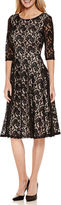 Melrose Signature by Sangria 3/4-Sleeve Lace Fit-and-Flare Dress