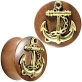 Body Candy Organic Saba Wood Brass Anchor Saddle Plug Set 25mm