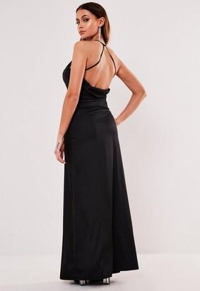 Missguided Black Satin Cowl Back Maxi Dress