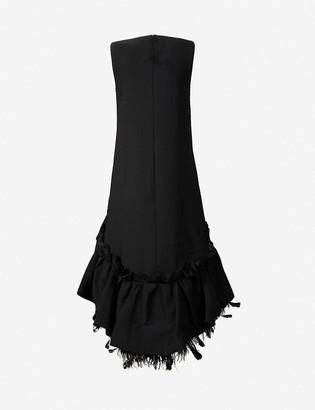 Huishan Zhang Jodie feather-trim woven maxi dress