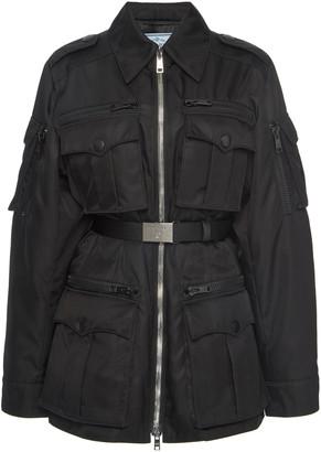 Prada Belted Shell Military Jacket