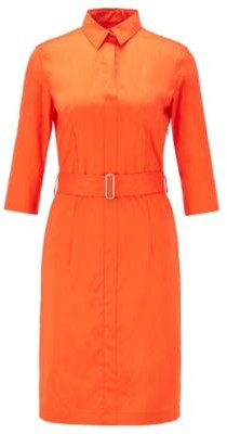 HUGO BOSS Trench-inspired shirt dress in a stretch-cotton blend