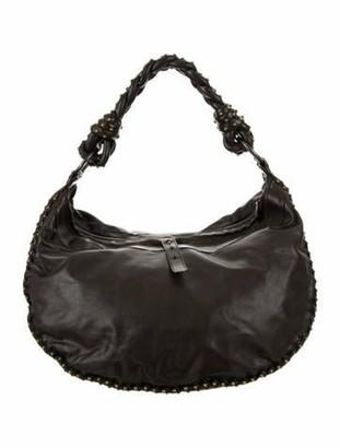 Bottega Veneta Intrecciato-Accented Leather Hobo