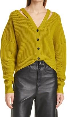 Proenza Schouler White Label Cut Out Button Back Wool Cardigan