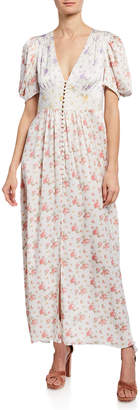 LoveShackFancy Stacy Silk Button-Front Maxi Dress