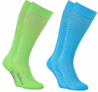 Rainbow Socks - Women Cotton Openwork Knee-High Socks -2 Paar - Blue Green - Size 8 5-9 5