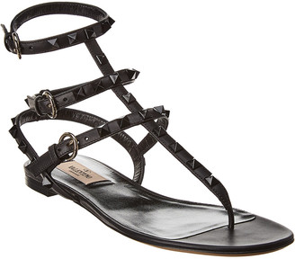 Valentino Rockstud Caged Leather Ankle Strap Sandal