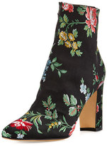 Manolo Blahnik Insopo Floral-Embroidered Ankle Boot