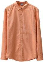 Qiuse Men's Business Open-Neck Long Sleeve Button-Down Shirt Variou Color