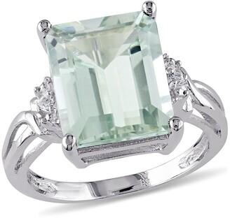 Delmar Sterling Silver Green Amethyst & White Topaz Ring