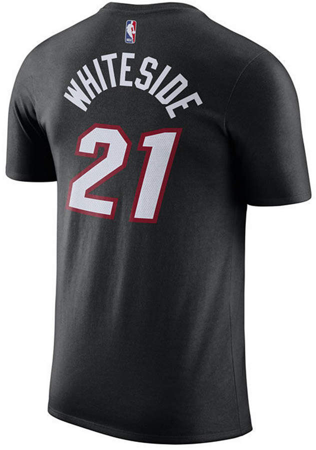 Nike Men Hassan Whiteside Miami Heat Name & Number Player T-Shirt
