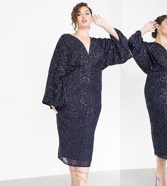 ASOS EDITION Curve sequin kimono midi pencil dress in navy