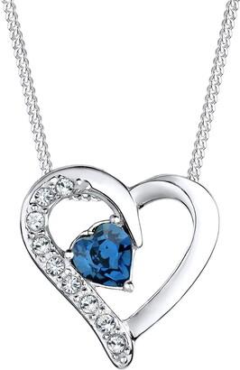 Elli Women's 925 Sterling Silver Swarovski Crystal Heart Necklace of Length 45cm 111841714