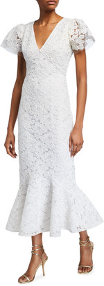 Shoshanna Cereza Floral Embroidered Tulle Midi Dress