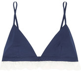 Raphaëlla Riboud Beverly Lace-trimmed Cotton Soft-cup Bra - Navy