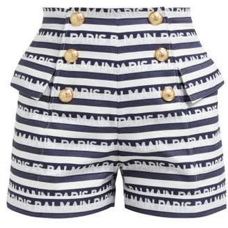 Balmain Logo Striped Cotton Shorts - Womens - Navy White