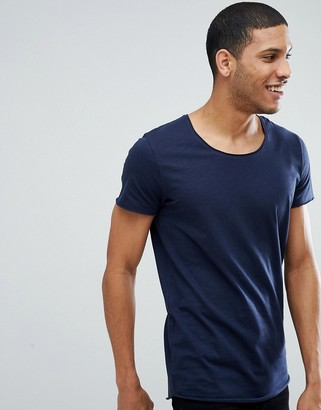 Jack and Jones Essentials scoop neck longline t-shirt in navy