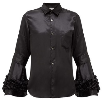 Comme des Garçons Comme des Garçons Flared-cuff Satin Shirt - Black