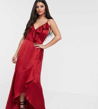 Little Mistress Petite satin frill wrap dress in ruby