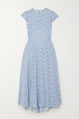 Reformation Gavin Open-back Floral-print Crepe Midi Dress - Light blue