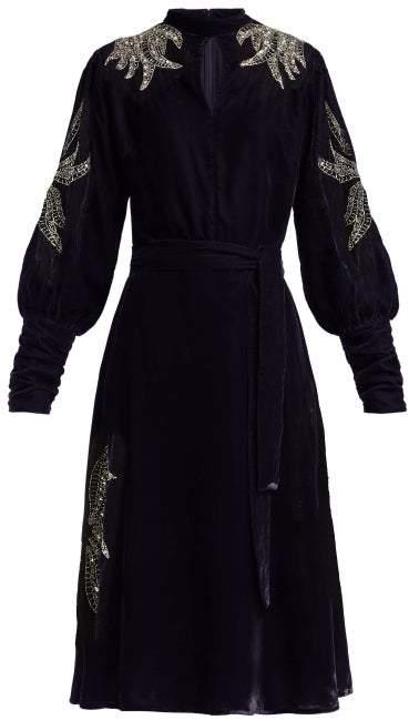 Dodo Bar Or Josephine Embellished Velvet Midi Dress - Womens - Navy