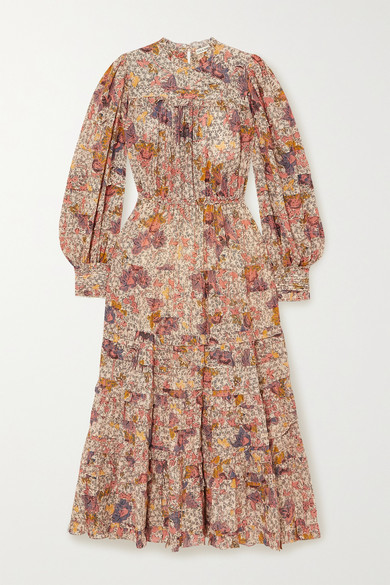 Ulla Johnson Laraline Tiered Ruffled Floral-print Cotton-blend Midi Dress - Ivory
