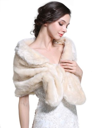 Handcess Women's 1920 Bride Wedding Faux Fur Shawls and Wraps Bridal Fur Scarf Stole Fur Cape for Women and Girls (Brown)