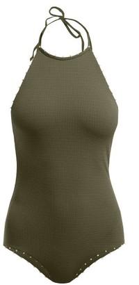 Marysia Swim Mott Scallop-edged Halterneck Swimsuit - Womens - Khaki Multi