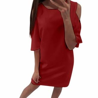 LOPILY Midi Dress Work Dress Casual Dress Summer Women Fashion Show Shoulder Dresses Sexy Pure Color Dresses Wine