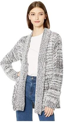 BB Dakota Stitch Party Marled Chenille Yarn Cardigan (Ivory) Women's Sweater