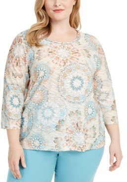 Alfred Dunner Plus Size Chesapeake Bay Tie-Dyed Top