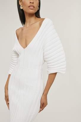 Cushnie White Rib Knit Off The Shoulder Dress
