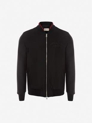 Alexander McQueen Crystal Embroidered Wool Blouson