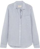 Current/Elliott The Boyfriend Striped Cotton-chambray Shirt - Light blue