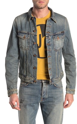 Nudie Jeans Billy Faded Distressed Denim Trucker Jacket
