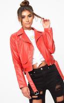 PrettyLittleThing Red PU Biker Jacket