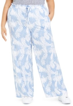 Planet Gold Trendy Plus Size Printed Paper-Bag Palazzo Pants