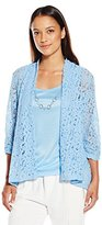 Notations Women's Petite 3/4 Sleeve Lace Bed Jacket with Solid Tank and Necklace 3fer
