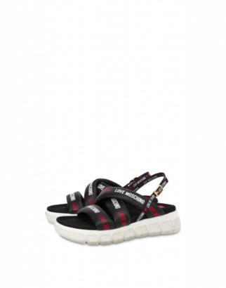 Love Moschino Nappa Leather And Mesh Sandal Tassel Love