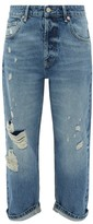 Raey Dad Ripped Boyfriend Jeans - Womens - Light Blue