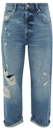 Raey Dad Ripped Boyfriend Jeans - Light Blue